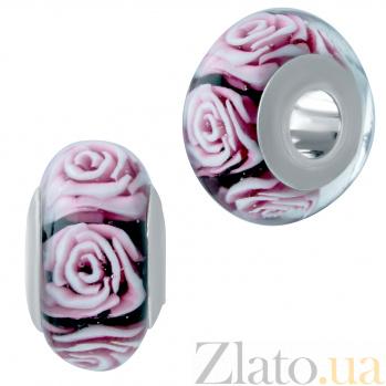 Серебряный шарм Роскошные розы с муранским стеклом 000078319