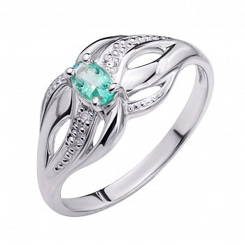 Срібна каблучка зі смарагдом і діамантами 000106730