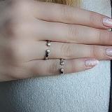 Серебряное кольцо на фалангу с белыми цирконами Глазки
