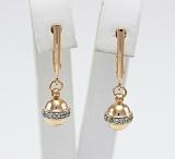 Сережки-подвески из красного золота с фианитами Персия
