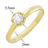 Золотое кольцо Бьянка с кристаллом Swarovski