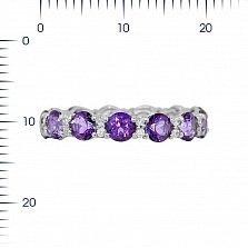 Серебряное кольцо Аэлита с фиолетовыми топазами и кристаллами Swarovski