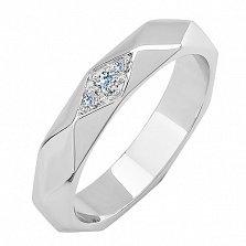 Обручальное кольцо Фасет в белом золоте с граненой шинкой и бриллиантами в стиле Бушерон