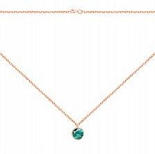 Колье из красного золота с завальцованным синтезированным зеленым кварцем 000113427
