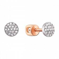 Золотые серьги-пуссеты в комбинированном цвете с бриллиантами 000132817