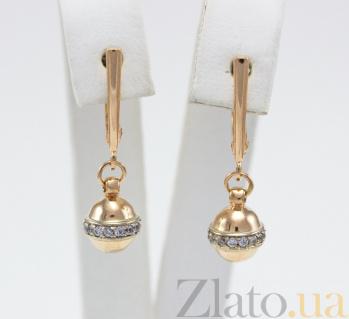 Сережки-подвески из красного золота с фианитами Персия VLN--213-1682