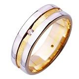 Золотое обручальное кольцо Династия с цирконием