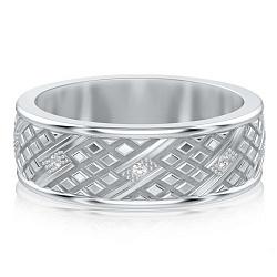 Мужское обручальное кольцо из белого золота с бриллиантами Благословение небес: Сияние души 00000857