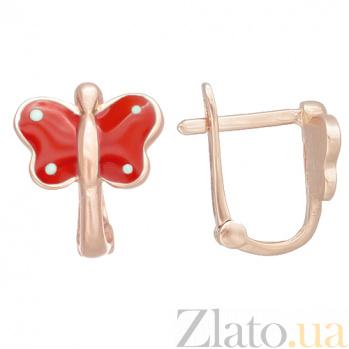 Детские золотые серьги с эмалью в красном цвете Бабочка 25341/1крас