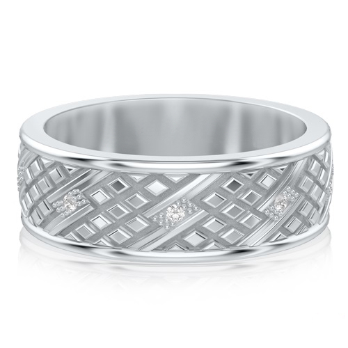 Мужское обручальное кольцо из белого золота с бриллиантами Благословение небес: Сияние души 713