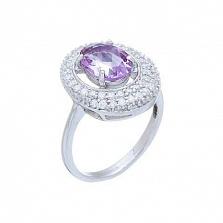 Женское серебряное кольцо с аметистом и фианитами Жоселин