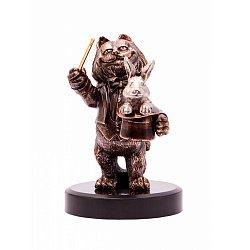 Бронзовая скульптура Лови удачу с холодной эмалью, серебрением и позолотой на мраморной подставке 00