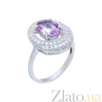 Женское серебряное кольцо с аметистом и фианитами Жоселин AQA--R00812Am
