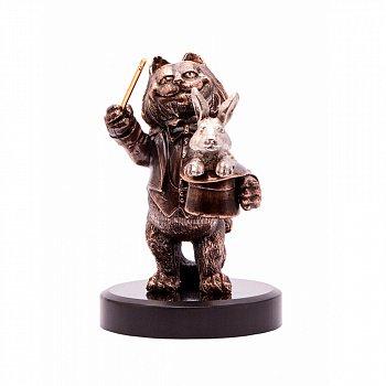 Бронзова скульптура Лови удачу з холодною емаллю, срібленням і позолотою на мармуровій підставці 000051928