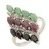 Серебряное кольцо Альмира с рубином, изумрудом, сапфиром и фианитами