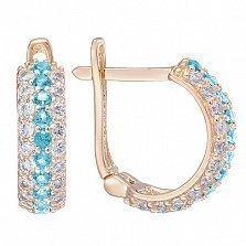 Золотые серьги Эсмин с голубыми и белыми фианитами