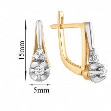 Золотые серьги Елена в комбинированном цвете с бриллиантами