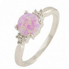 Серебряное кольцо Снежка с розовым опалом и фианитами