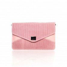 Кожаный клатч Genuine Leather 8053 нежно-розового цвета с механическим замком на клапане