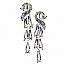Золотые серьги с сапфирами, рубинами, цаворитами и бриллиантами Феникс