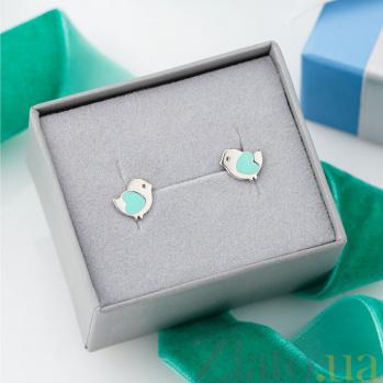 Серебряные серьги-пуссеты Птенчики с бирюзовой эмалью 000079070