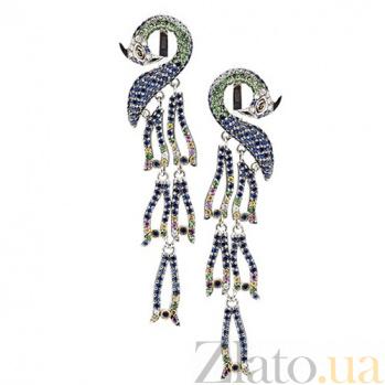 Золотые серьги с сапфирами, рубинами, цаворитами и бриллиантами Феникс KBL--С2176/бел/сапф