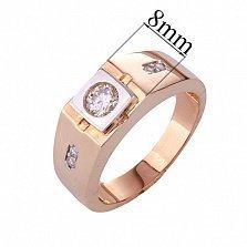 Золотое кольцо-печатка с фианитами Евсей