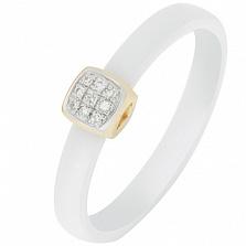 Кольцо в желтом золоте Сельма с керамикой и бриллиантами