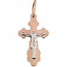 Золотой крестик Божья сила в комбинированном цвете на фигурной основе с узорной насечкой