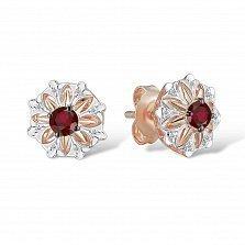 Золотые серьги-пуссеты Лиам в красном цвете с узорными цветами, бриллиантами и рубинами
