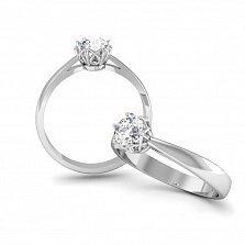 Золотое кольцо Эльмира в белом цвете с бриллиантом