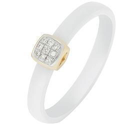 Кольцо в желтом золоте Сельма с керамикой и бриллиантами  000032612