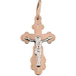 Золотой крестик Божья сила в комбинированном цвете с насечкой 000046359