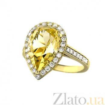 Золотое кольцо с цитрином и бриллиантами Незнакомка 000029639