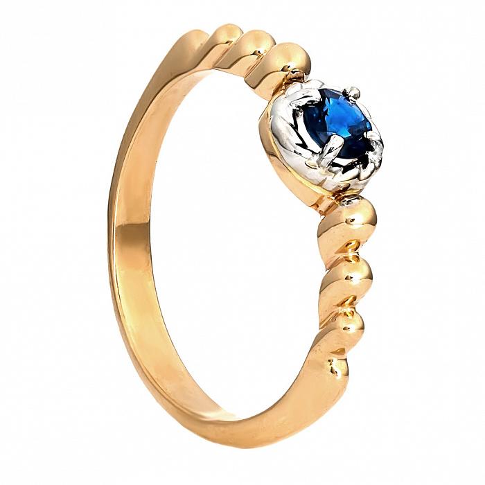 Золотое кольцо с синим сапфиром Мерида 000030100