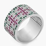 Серебряное кольцо Весенний Орнамент с фианитами