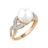 Золотое кольцо с жемчугом и бриллиантами Морская сказка