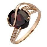 Золотое кольцо Гретас гранатом и фианитами