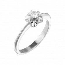 Кольцо из белого золота Цветение любви с бриллиантом