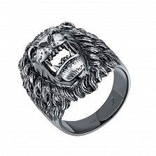 Серебряный черненый перстень Львиный оскал с черными фианитами