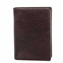Кожаный кошелек-книжка Genuine Leather c0093 коричневого цвета с внутренним отделением на кнопке