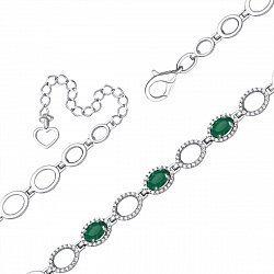 Серебряный браслет с зелеными агатами и фианитами 000093537