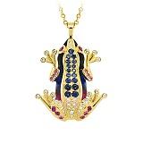 Золотой подвес с бриллиантами, сапфирами и эмалью Лягушки: Чудо бытия