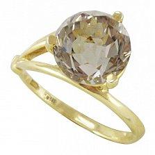 Кольцо из желтого золота Бриджит с раухтопазом