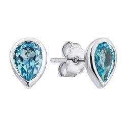 Серебряные серьги-пуссеты с голубыми топазами 000133476