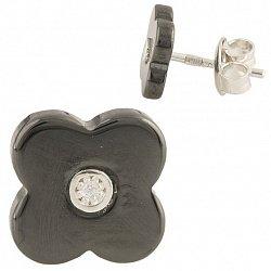 Серебряные серьги-пуссеты Флер с цирконием и черной керамикой