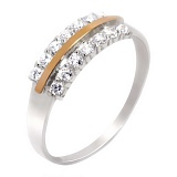 Кольцо из серебра с золотом и фианитами Нимфа