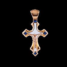 Детский золотой крестик Solomia с сапфирами и белой эмалью