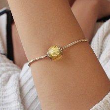 Шарм из лимонного янтаря с внутренней гравировкой Морской ёж на серебряной основе