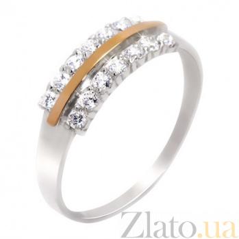 Кольцо из серебра с золотом и фианитами Нимфа BGS--383к